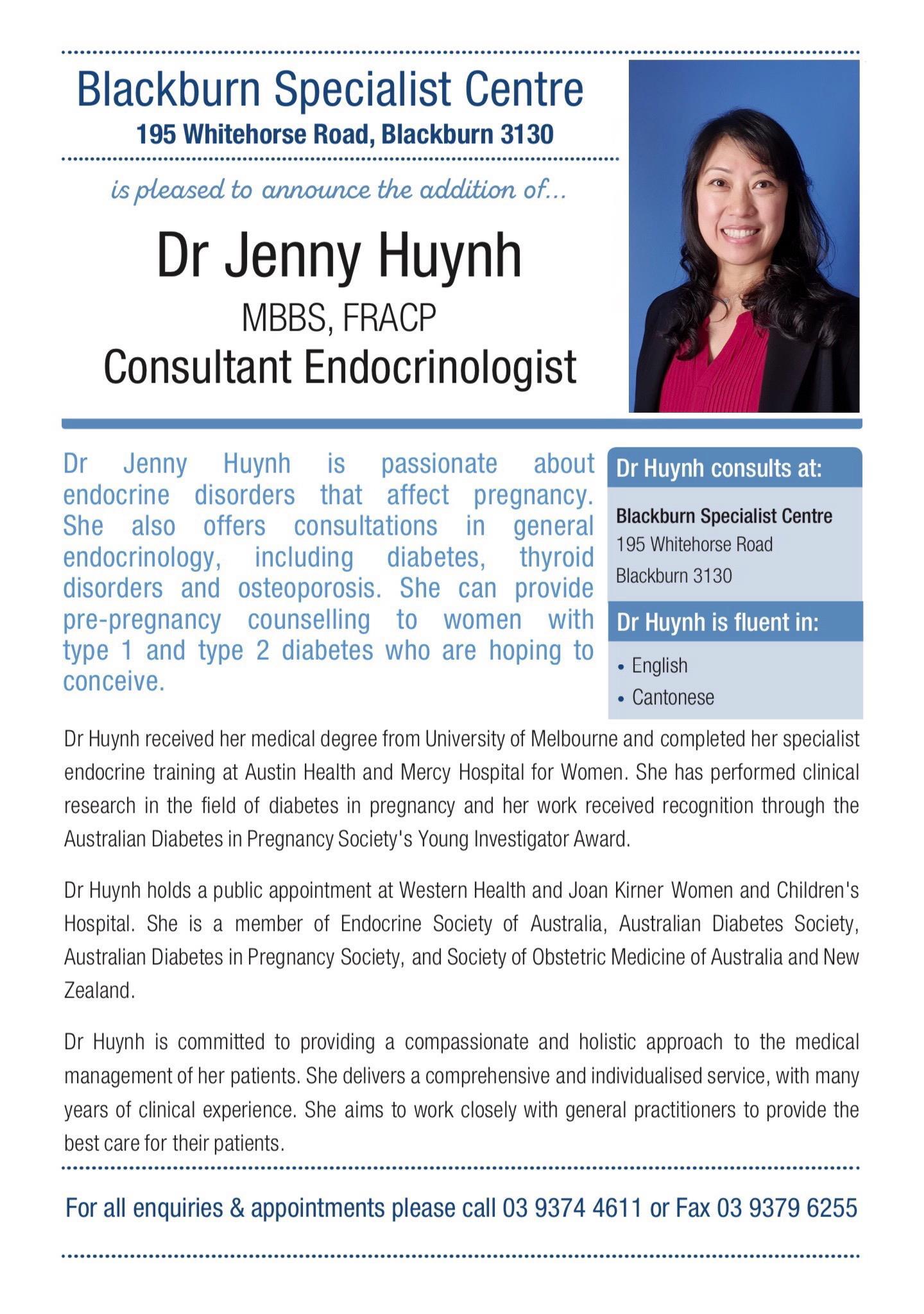 Dr Jenny Huynh